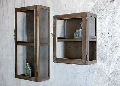 Antique Industrial Metal & Glass Doors Wall Cabinet Shelf Storage Display Units