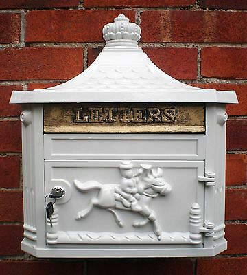 New Antique Victorian White Aluminium Wall Mounted Locking Letter Post Mail Box