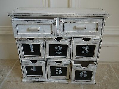 French Retro Chest Of 8 Numbered Drawers Storage Cabinet Wood Display Unit 39cm