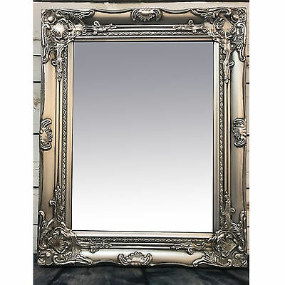 French Baroque Rococo Silver Frame Antique Ornate Wall Mounted Large Mirror 53cm
