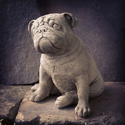 New British Bulldog Dog Stone Garden Statues Ornament Sculpture Large 13Kg