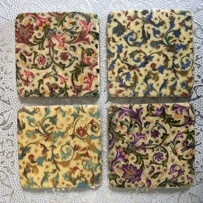 S/4 Victorian Vintage Antique Ceramic Drinks Table Mats Tile Coasters Gift Set