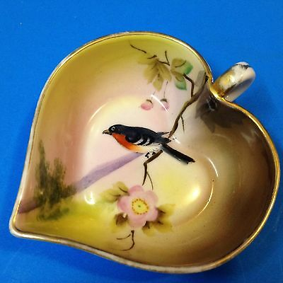Early Vintage - 11cm Porcelain Heart Pin Dish - Hand Painted Bird & Flowers