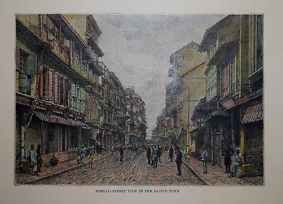 India. Bombay - Street View In The Native Town. 1880..