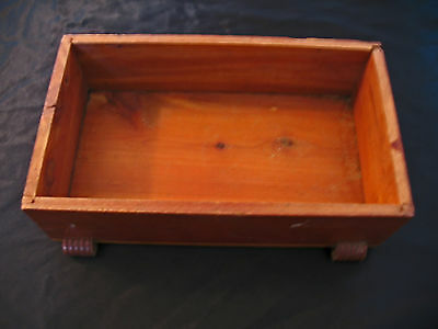 Wooden  Box With No Lid-Vintage-Wooden Feet