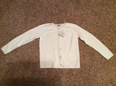 HANNA ANDERSSON girls white pocket cardigan size 150 11 12 13 NWT