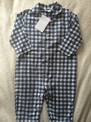 New Little White Company Baby Boys Gingham Sleepsuit Size 6-9 Months 100% Cotton