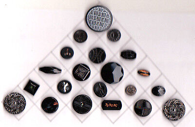 CARD 21 BLACK GLASS BUTTONS facet, whistles, interlacement & silver  trims NO 1