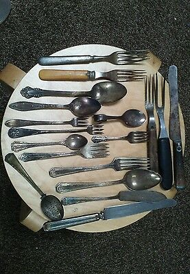 Lot Of 18 Misc. Utensils Stainless & Silver Plate Vintage