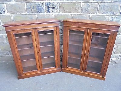 Pair Antique Oak Glazed Library Bookcases