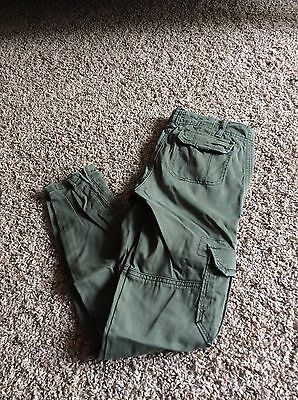 abercrombie kids girls army green cargo pants stretch size 12 EUC