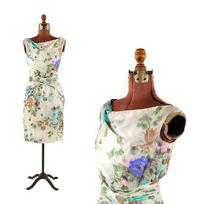 Vintage 60s All Silk Watercolor Floral Print Cocktail Evening Hourglass Dress S