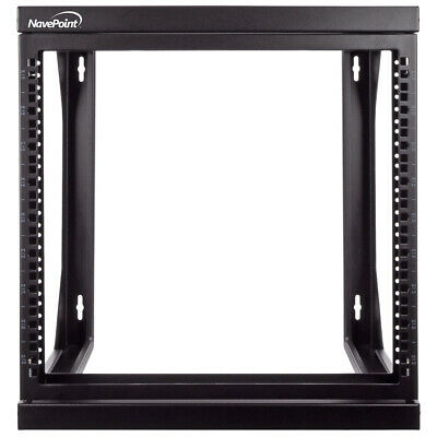 """9U Wall Mount IT Open Frame 19"""" Network Rack with Swing Out Hinged Gate Black"""