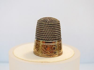 Antique Gold & Sterling Silver Simons Bros.Sewing Thimble Early1900s Size 6 .75""