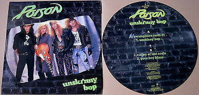 """EX/EX! POISON UNSKINNY BOP 12"""" VINYL PICTURE PIC DISC + backing card"""