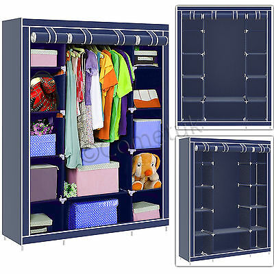 Triple Fabric Canvas Wardrobe With Hanging Rail Clothes Storage Shelves Cupboard