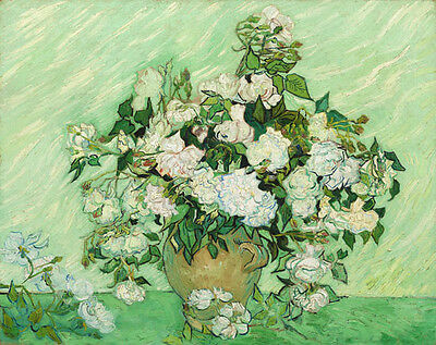 White Rose Flowers by Van Gogh Fine Art Print Reproduction on Canvas Framed