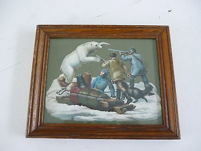 Vintage Polar Bear Picture W/ Hunters And Sled Dogs