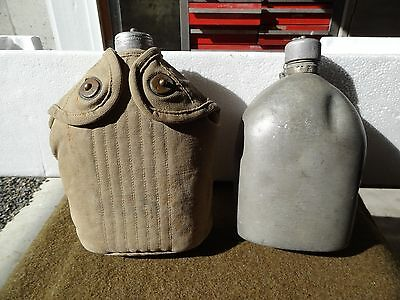Lot Of Two,vintage,world War One,u.s. Army Canteens,dated 1918,aluminum Cap