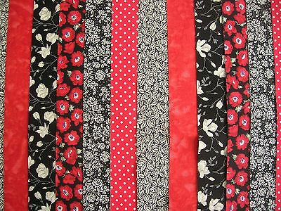 """12 Jelly Roll Strips Red & Black  44"""" X 2.5""""  100% Cotton Patchwork/quilt Br6"""