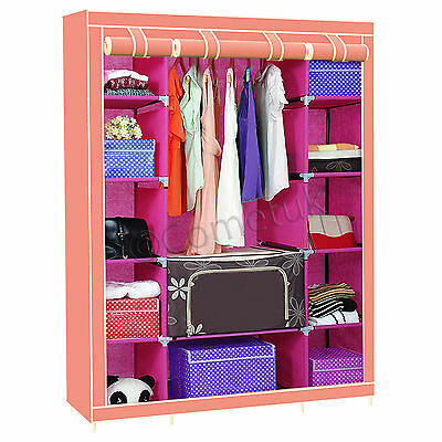 Triple Fabric Canvas Wardrobe With Hanging Rail Shelves Clothes Storage Cupboard