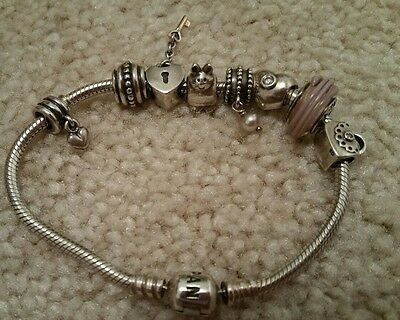 Pandora bracelet 19cm with charms hearts gold retired