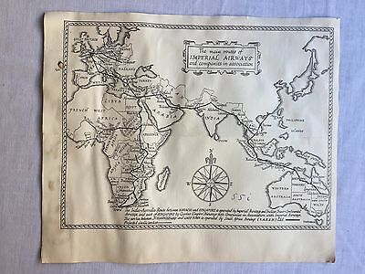 Map Of Asia Part Of Brochure Imperial Airways W/ Price Tables To Hong Kong 30's