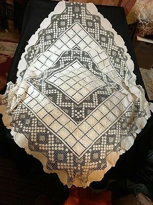 """ANT Irish Crochet Filet Lace Table-topper. Floral & Linear Design 30"""" Sq LOVELY!"""