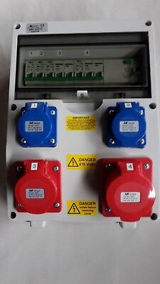 63A RCD protected distribution board 16&32A 5 Pin + 240V sockets, hook up unit