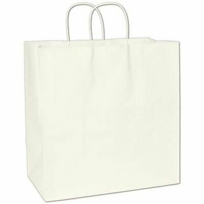 200 Recycled White Kraft Gift Merchandise Paper Bags Shoppers Escort 14 x 8 x 14