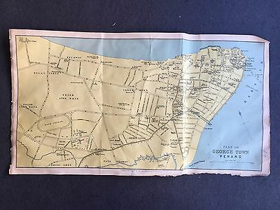 Rare Antique George Town Penang Malasya  Map Made In Scotland 1930's