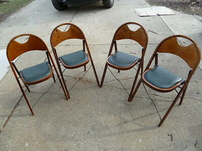VINTAGE LOUIS RASTETTER SONS CO SOLID KUMFORT WOODEN FOLDING CHAIRS 1930s