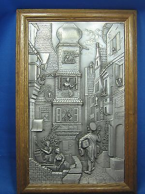 "Antique German SKS 14.5""x 9""Embossed Pewter Picture w/Oak Frame Post Office Man"