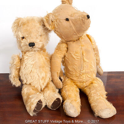 2 x Antique Teddy Bears 1930's & 1950's Chad Valley w. Provenance Vintage Toys