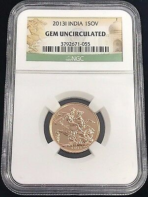 2013-I Great Britain India Gold Sovereign NGC GEM UNCIRCULATED
