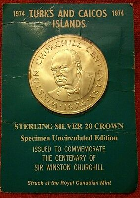 1974 Turks & Caicos STERLING SILVER 20 Crown Coin Winston Churchill 1.15 Ounce