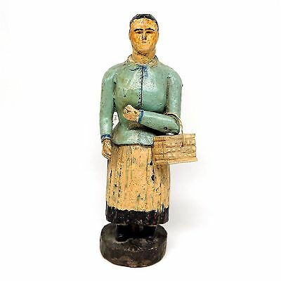 Antique Mid-1800s American Folk Art Woman with Basket - Handcarved and Painted