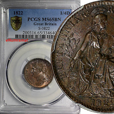 Great Britain George IV Copper 1822 Farthing PCGS MS65 BN KM# 677 S-3822