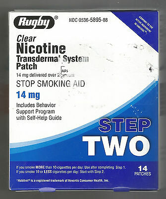 Rugby Nicotine Transdermal Clear Patch 14mg Step 2.exp 08/2019 1Box-14 patches