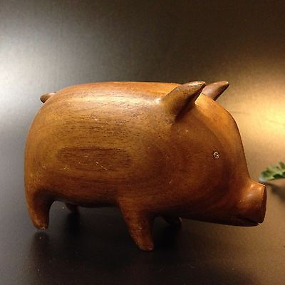 PNG New Guinea - 6cm Tall  Carved Wood Pig  - Ornament Sculpture
