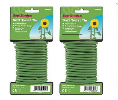 Flexible Garden Plant Support Twist  Wire Twine Cable Tie  5M X 2