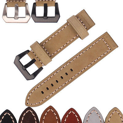 Handmade Watchband Stainless steel Buckle Leather Watch Band Wristwatch strap