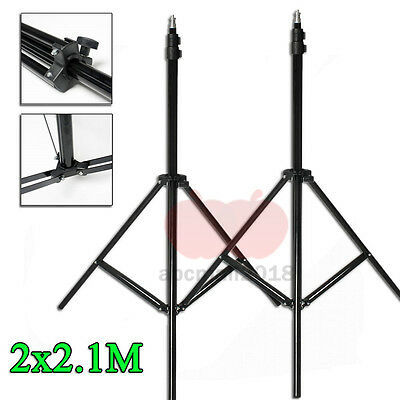 2x210cm Photography Light Stand Tripod Support For Photo Studio Flash Softbox UK