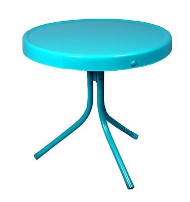 Retro Tulip Outdoor Side Table Round End Metal Patio Furniture Decor Turquoise