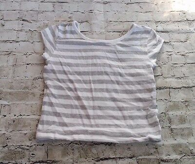 P.S Aeropostale Girls 6 Gray White Striped Short Sleeve Shirt Top