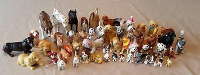 Large Lot Of Toy Plastic Dogs; Many Breeds; 50 Pieces