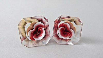 Vintage 50s Reverse Carved Red Pansy Flower Clear Lucite Earrings Screw Back