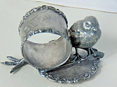"""Antique Rare Silver Plate Figural Napkin Ring, Baby Chick, Wishbone Extra Leg 4"""""""