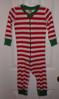 Hanna Andersson Red/White Stripe Long Sleeve Sleeper/Pajamas Size 80 18-24 Month