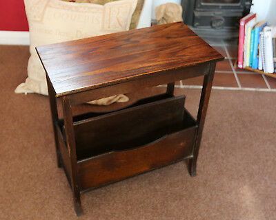 SIDE TABLE BOOK RACK MAGAZINE PAPER RACK 1950's OAK